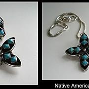 Unusual Vintage Native American Navajo Diamond-Cut Turquoise Set Ring & Brooch Sterling
