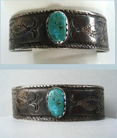 Rare Antique Circa 1900 Exceptional Native American Navajo Cuff Bracelet Coin Silver Green Turquoise
