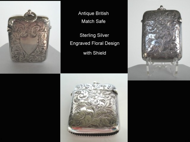 Antique British Victorian Pocket Vesta Match Safe Sterling Silver Engraved Florals & Shield Hallmarked