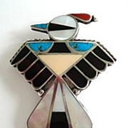 Vintage 1950's Native American Zuni Thunderbird Brooch Pin Multiple Stone Inlay Turquoise Coral Jet Sterling