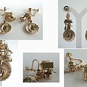 Whimsical Mechanical Picnic Dangle Earrings Wishing Well Floral Plate & Spoon
