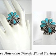 Exquisite Floral Design Vintage Native American Inlaid Turquoise Ring Sterling Silver Overlays Navajo