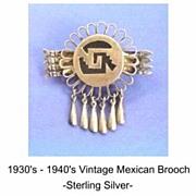Unusual Vintage MEXICAN Brooch Pin Sterling Silver Pre Colombian Design Arrows & Dangles Hallmarked