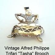 Vintage Alfred Philippe Trifari Sterling Vermeil Tasha Brooch Female Russian Cossack Dancer
