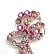 Vintage Signed BSK Large Bow Brooch RED AB Rhinestones Excellent & Full of Personality