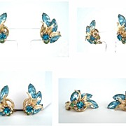 Vintage Earrings Crystal Clear Aquamarine & Blue Zircon Rhinestones Graceful Climbing Leaves & Flower
