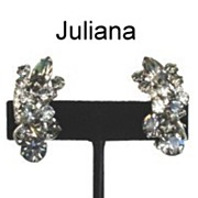 JULIANA D&E – Black Diamond Rhinestone Earrings Rhodium Metal Excellent with Wired Floret