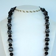 "Vintage 30"" Black & White Plastic Beads Necklace No Two Beads are The Same"