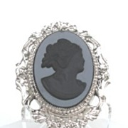 Vintage Victorian Revival Black Glass Cameo Brooch Pin Art Nouveau Style Frame