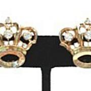 Royal Vintage Crown Earrings Rhinestones & Gold Plated Metal