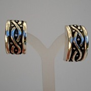 Vintage Los Castillo Taxco Mexican Sterling Silver Earrings Art Deco Style Chunky Bold