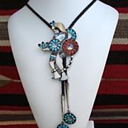 1950's Magnificent Native American ZUNI Sun God Dancer Bolo Tie Multiple Stone Inlay Sterling