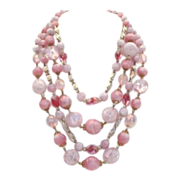 Stunning Vintage West Germany Necklace PINK Molded Plastic Quadruple 4- Strand AB Faux Crystals