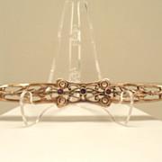 "c. 1900 Floral Brass Bar 4""+ Long Brooch C-clasp Amethyst Stones"
