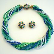 Vintage Signed Belini 15 Strand Torsade Necklace & Earring Set Blues Greens