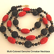 Unique Vintage Chinese Carved Black & Red Cinnabar Necklace Antiqued Gold Tone Metal Beads