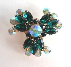 Vintage Emerald Green Rhinestone Floral Brooch Pin Large AB Aurora Borealis Gold Tone