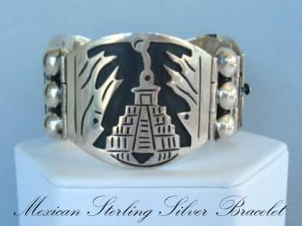 Outstanding Vintage Mexican HingedBracelet Sterling Silver Pyramid Overlays Signed