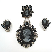 Vintage JULIANA Victorian Revival Mourning Black Glass DOUBLE Dangling Cameo Set