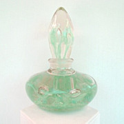 Heavy Vintage Italian Hand Blown Murano Glass Perfume Scent Bottle Object d' Art