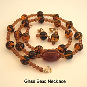 Vintage Autumn Art Glass Bead Necklace Earrings Set Tortoise Shell Tiger's Eye Colors