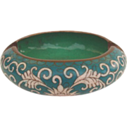 Vintage Teal Color Floral Chinese Cloisonné Ashtray Trinket Box
