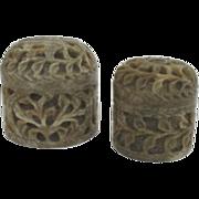 Vintage Pair of Hand-Carved Soapstone Lidded Jars Trinket Holders