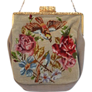 Vintage Late 1800's Silk Victorian Evening Bag Purse Petite Point Embroidered Birds Floral Excellent