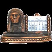 Vintage Souvenir Brass Perpetual Native American Indian Calendar Great Falls Montana Rainbow Dam