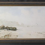 """Low Tide of the French Coast"" Original Painting by Listed George W. Harvey, Cape Ann MA Artist"