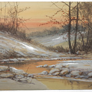 Winter Forest Scene by Listed American Artist Paul Verlet