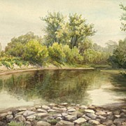 Detailed Ca. 1900 Painting, Loveland, Ohio, by Listed Artist Ludwig Woseczek