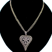 SALE Beautiful Vintage Sterling Multi Chain Necklace with Sterling Marcasite Heart Pendant
