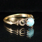 SALE Victorian 10k Rose Gold Turquoise Ring Size 6-1/4