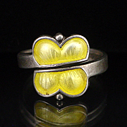 SALE Vintage Aksel Holmsen Norway Sterling Yellow Enamel Butterfly Ring Size 6-1/2