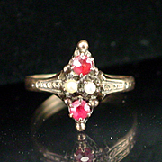 SALE Victorian 10k Rose Gold Garnet and Seed Pearl Ring Size 5