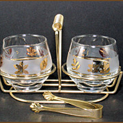 Libbey Glass Golden Foliage Cream and Sugar With Carrier and Tongs