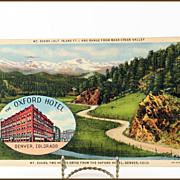 Colortone Linen Post Card of Mt. Evans and The Oxford Hotel