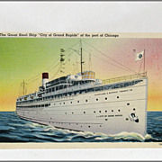 "Linen Tichnor Post Card of The Great Steel Ship ""City of Grand Rapids"""