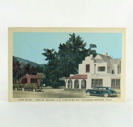 Mirrocolor Post Card of The Casa Motel Colorado Springs 1950's