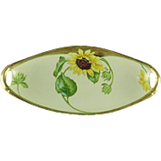 Hand Painted Bavaria Celery Dish With Sunflowers  (SALE)