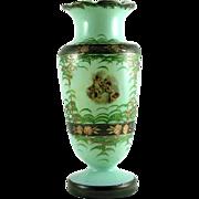 Bristol Glass Vase Hand Painted Cherubs Mold Blown Glass