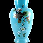 Victorian Bristol Glass Vase Hand Painted
