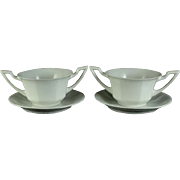 Vignaud Porcelain Limoges Onion Soup Bowls and Saucers