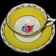 Paragon Star- Pink Rose on Yellow - Teacup Set  ca1930