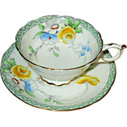 Early Paragon - Florals with Green - Teacup Set