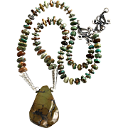 Hands Across the Sea Necklace of Turquoise and Sterling, 20-3/4 Inches