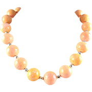 Artisan Peach-Colored Coral Choker Necklace, 17-1/2 Inches