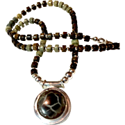 Man's Necklace of Septarian Geode and Bronzite, 20-3/4 Inches