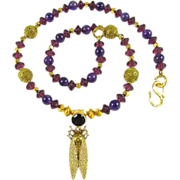 Artisan Beetle Necklace: Amethyst, Brass, Vermeil, Gold Plate: 20-1/2 Inches